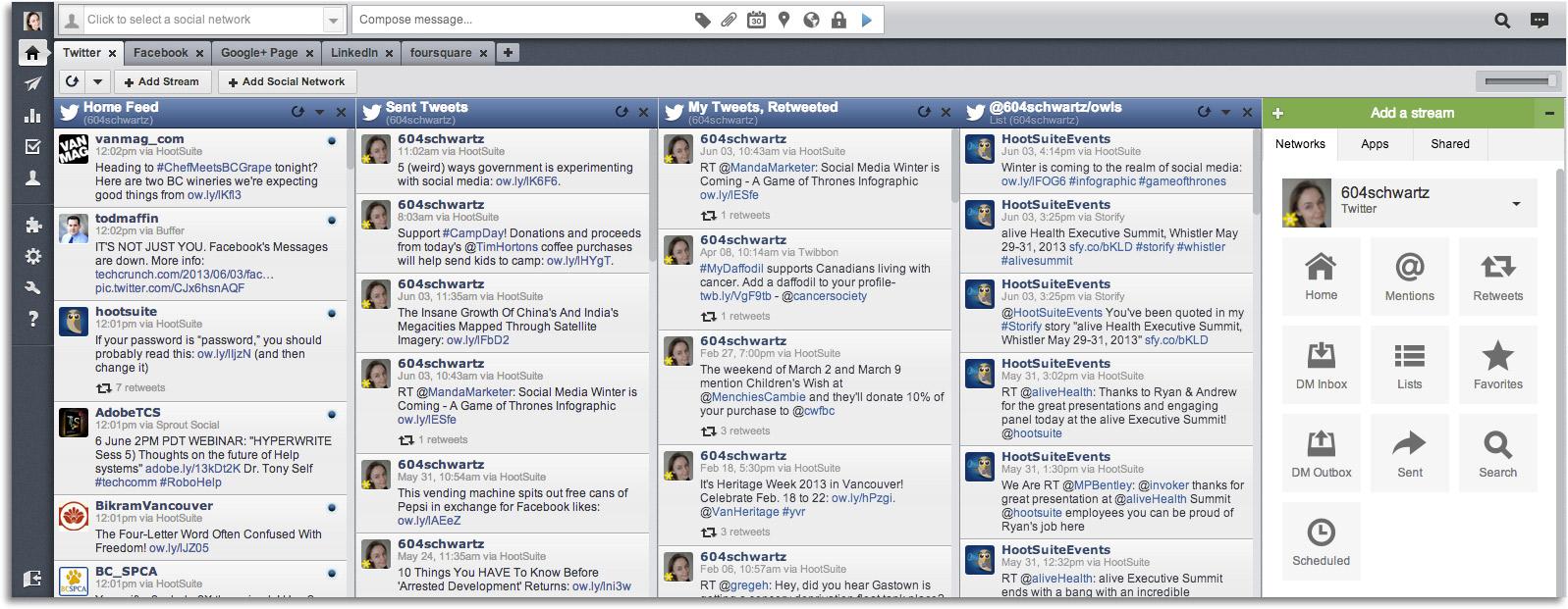 interfaz hootsuite