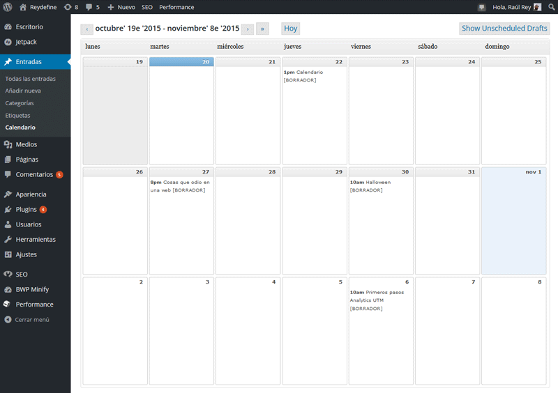 editorial calendar, wordpress plugin