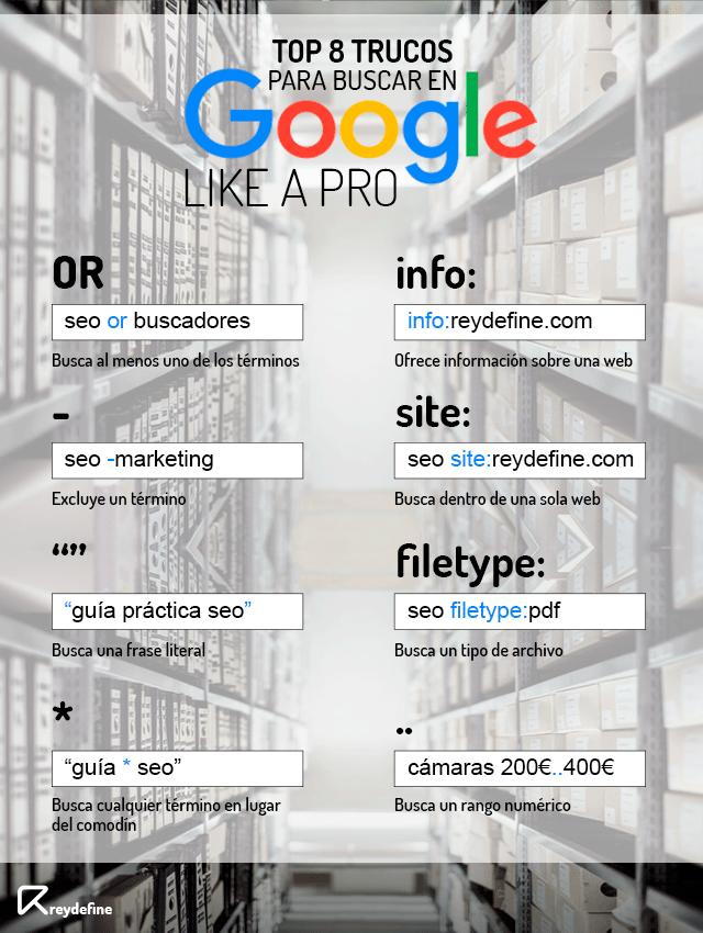 trucos para buscar en google infografía