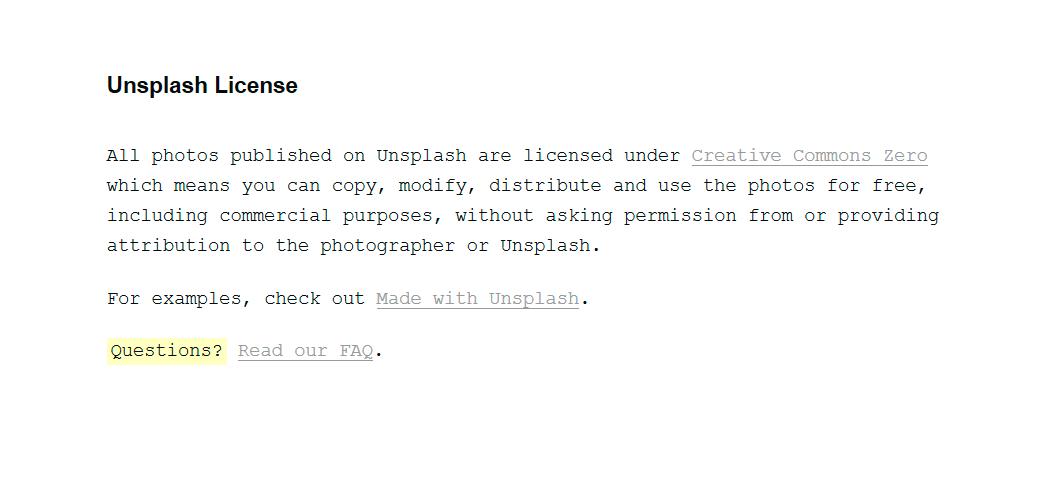 licencia unsplash creative commons zero