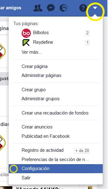 facebook configuracion
