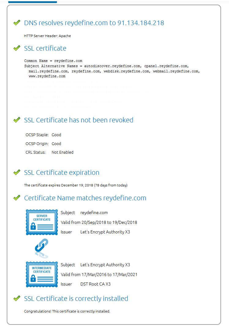 digicert ssl validacion