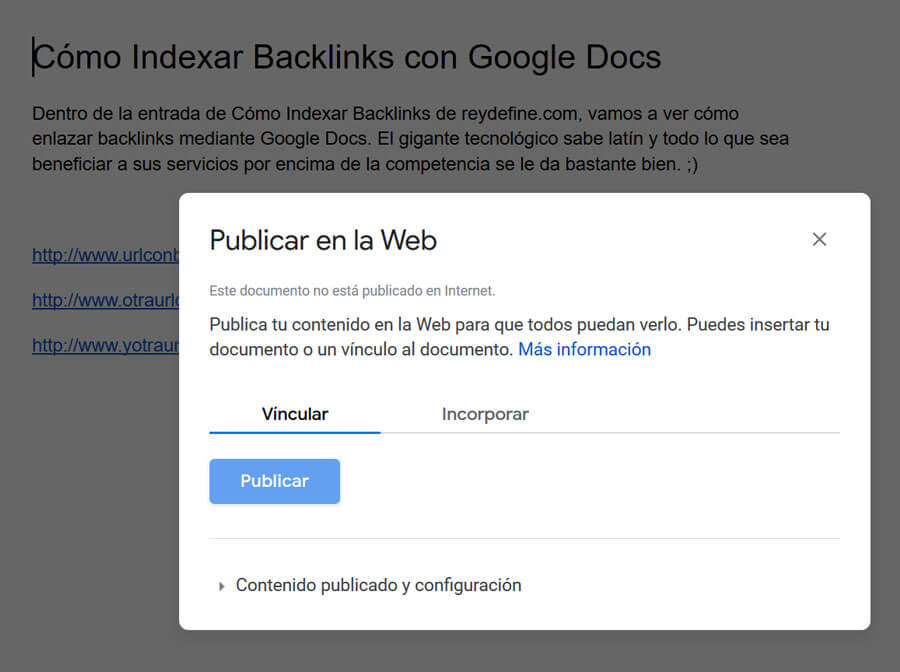 indexar backlinks con google docs