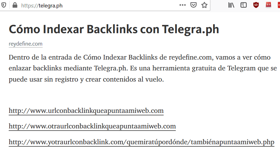indexar backlinks con telegraph