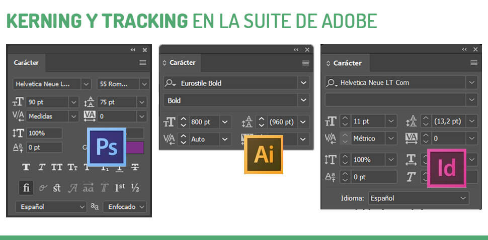 kerning y tracking en photoshop e illustrator