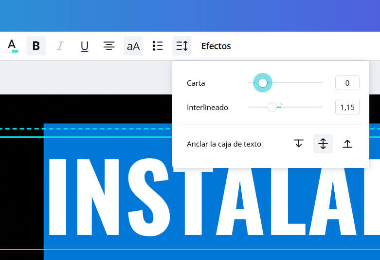 tracking y kerning en canva